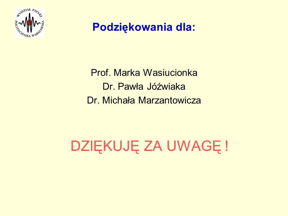 Podziękowania dla: Prof. Marka Wasiucionka Dr. Pawła Jóźwiaka Dr. Michała Marzantowicza DZIĘKUJĘ ZA UWAGĘ !