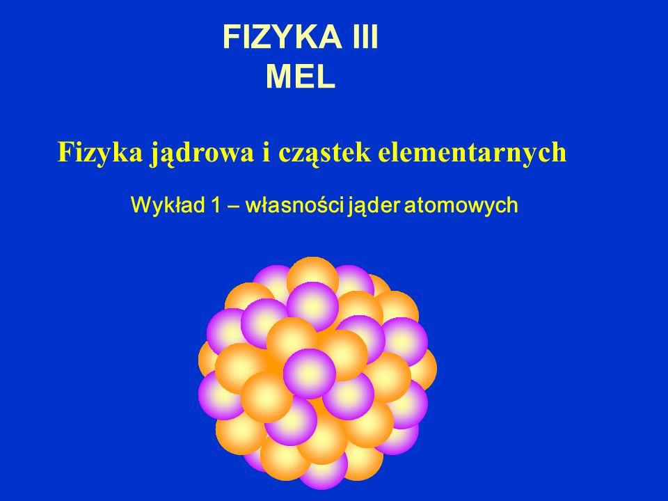 FIZYKA III MEL Fizyka jądrowa i cząstek elementarnych Wykład 1 – własności jąder atomowych