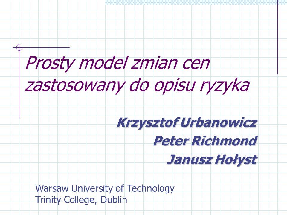 Prosty model zmian cen zastosowany do opisu ryzyka Krzysztof Urbanowicz Peter Richmond Janusz Hołyst Warsaw University of Technology Trinity College,