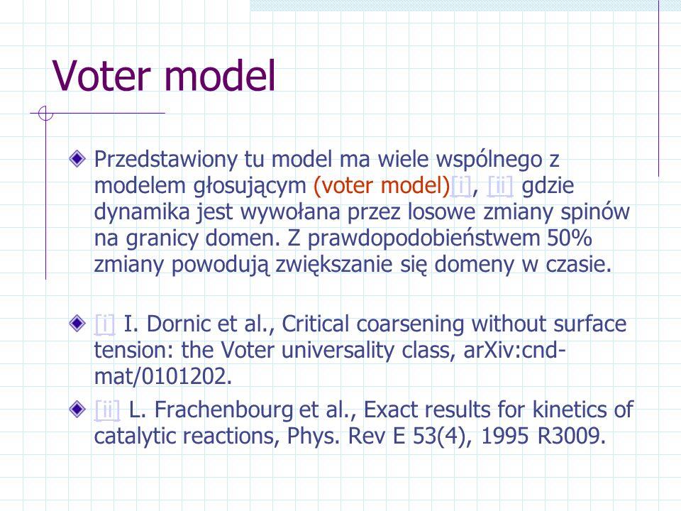 Voter model Przedstawiony tu model ma wiele wspólnego z modelem głosującym (voter model)[i], [ii] gdzie dynamika jest wywołana przez losowe zmiany spi