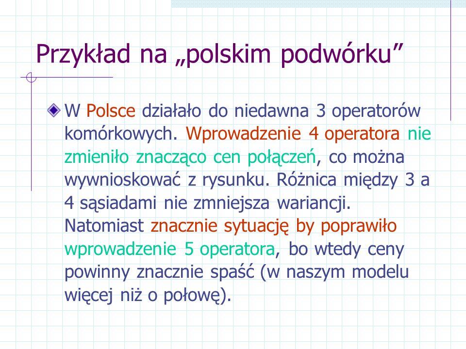 Przykład na polskim podwórku W Polsce działało do niedawna 3 operatorów komórkowych. Wprowadzenie 4 operatora nie zmieniło znacząco cen połączeń, co m
