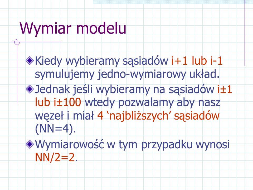 Wymiar modelu Kiedy wybieramy sąsiadów i+1 lub i-1 symulujemy jedno-wymiarowy układ. Jednak jeśli wybieramy na sąsiadów i±1 lub i±100 wtedy pozwalamy