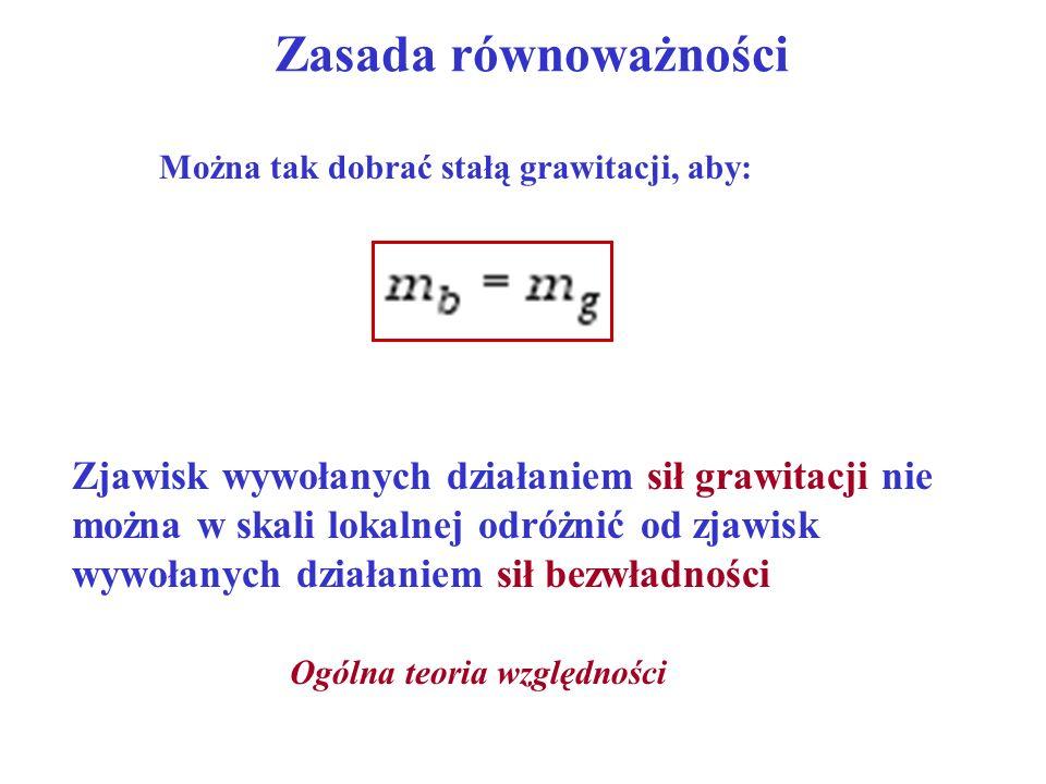 Zasada równoważności Można tak dobrać stałą grawitacji, aby: Zjawisk wywołanych działaniem sił grawitacji nie można w skali lokalnej odróżnić od zjawi