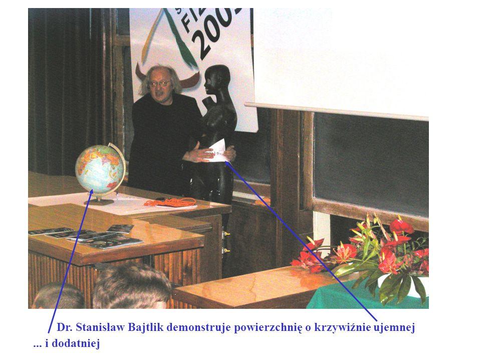 ... i dodatniej Dr. Stanisław Bajtlik demonstruje powierzchnię o krzywiźnie ujemnej