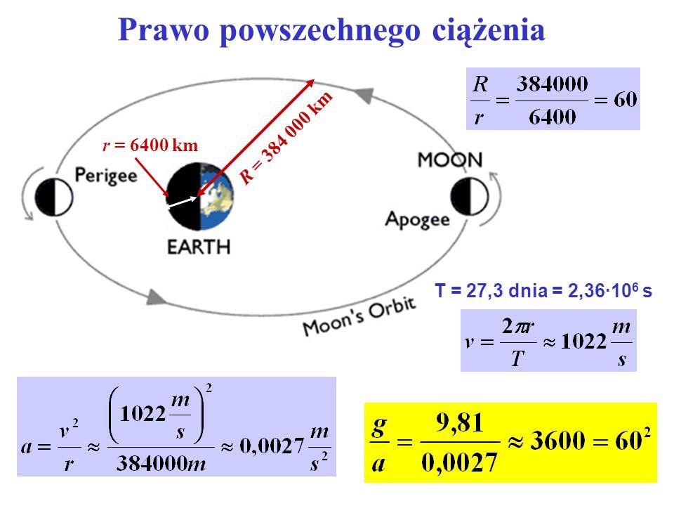 Prawo powszechnego ciążenia R = 384 000 km r = 6400 km T = 27,3 dnia = 2,36·10 6 s