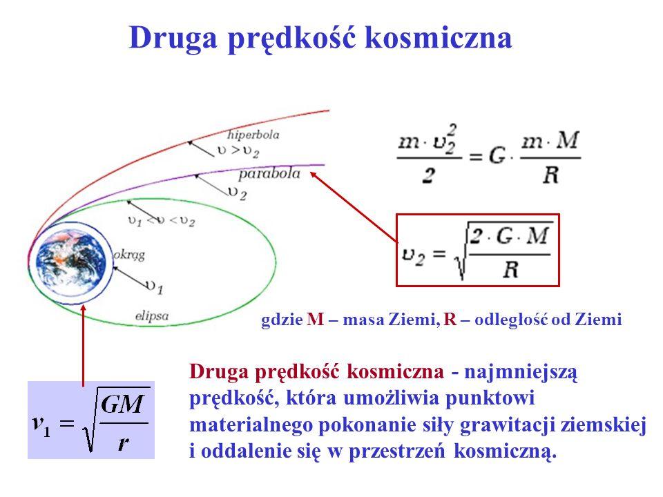 Druga prędkość kosmiczna Druga prędkość kosmiczna - najmniejszą prędkość, która umożliwia punktowi materialnego pokonanie siły grawitacji ziemskiej i