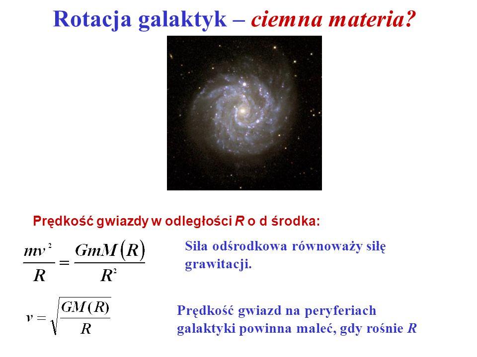 Siła odśrodkowa równoważy siłę grawitacji. Prędkość gwiazd na peryferiach galaktyki powinna maleć, gdy rośnie R Rotacja galaktyk – ciemna materia? Prę