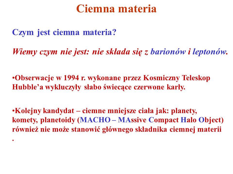 Ciemna materia Czym jest ciemna materia? Wiemy czym nie jest: nie składa się z barionów i leptonów. Obserwacje w 1994 r. wykonane przez Kosmiczny Tele