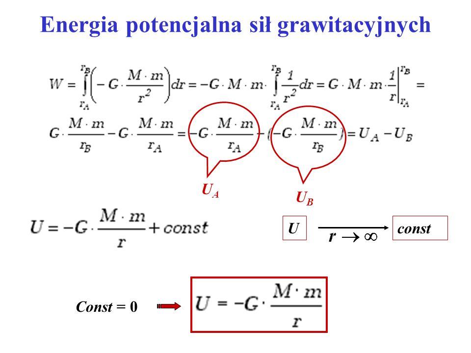 Potencjał pola grawitacyjnego Potencjał - praca wykonana przez siły grawitacji przy przemieszczeniu punktu materialnego o jednostkowej masie z danego punktu pola do nieskończoności energia potencjalna masy jednostkowej.