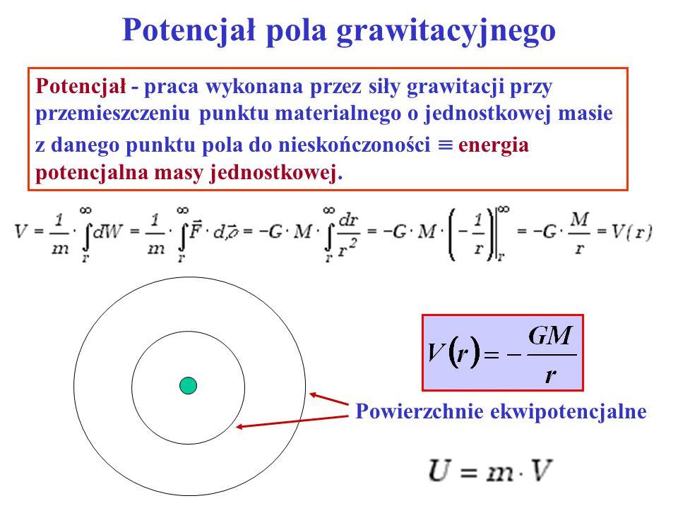 Potencjał pola grawitacyjnego Potencjał - praca wykonana przez siły grawitacji przy przemieszczeniu punktu materialnego o jednostkowej masie z danego