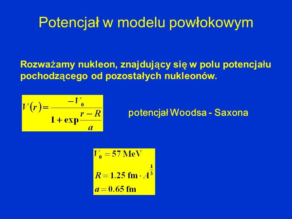 P otencjał w modelu powłokowym Rozwa ż amy nukleon, znajduj ą cy si ę w polu potencja ł u pochodz ą cego od pozostałych nukleonów. potencjał Woodsa -