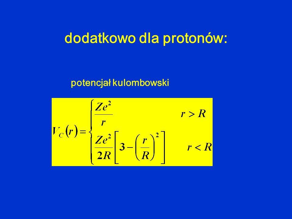 dodatkowo dla protonów: potencjał kulombowski