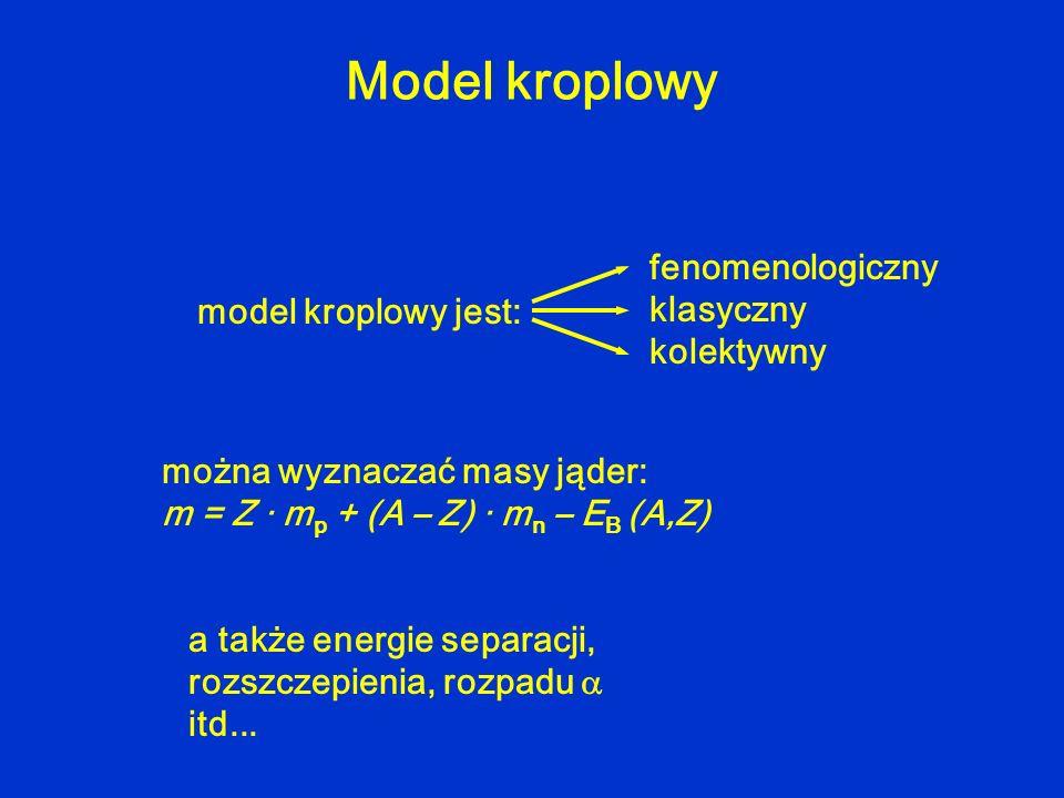 model kroplowy jest: fenomenologiczny klasyczny kolektywny można wyznaczać masy jąder: m = Z · m p + (A – Z) · m n – E B (A,Z) a także energie separac