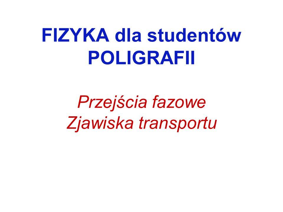 FIZYKA dla studentów POLIGRAFII Przejścia fazowe Zjawiska transportu