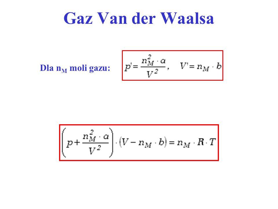 Gaz Van der Waalsa Dla n M moli gazu: