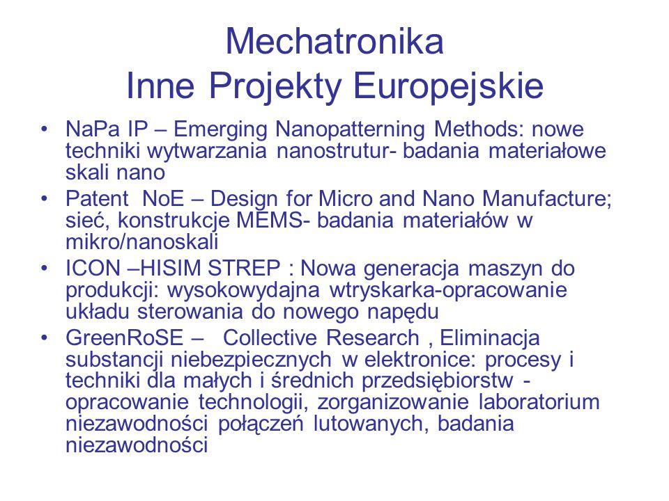 Mechatronika Inne Projekty Europejskie 5 PR UE nr umowy SPOTS - Standaryzacja optycznych technik pomiaru odkształceń –zakończony 2005 AURORA CRAFT- Bezkontaktowe objętościowe pomiary dolnej części ciała z analizą funkcjonalną i diagnostyczną NEMO - Sieć doskonałości Mikro-Optyki Współkoordynacja Siecią oraz kierowanie pakietami roboczymi WP2 (Centrum Pomiarów i Nowej Aparatury), WP15 (Konferencje, Warsztaty, Rozpowszechnianie Wiedzy)