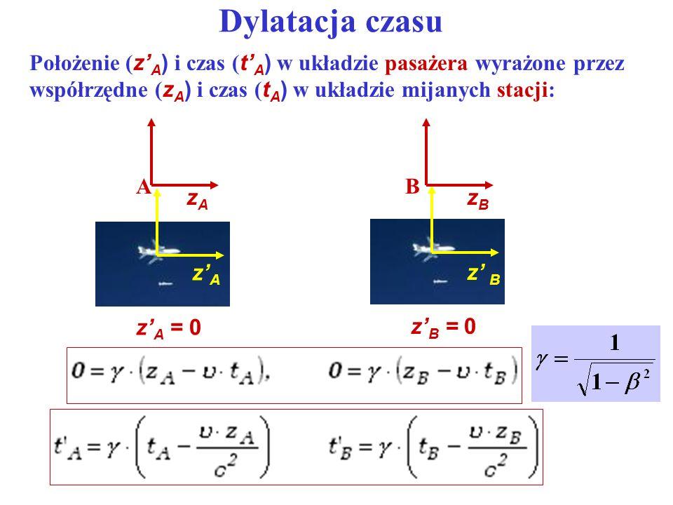 Dylatacja czasu Położenie ( z A ) i czas ( t A ) w układzie pasażera wyrażone przez współrzędne ( z A ) i czas ( t A ) w układzie mijanych stacji: zAz