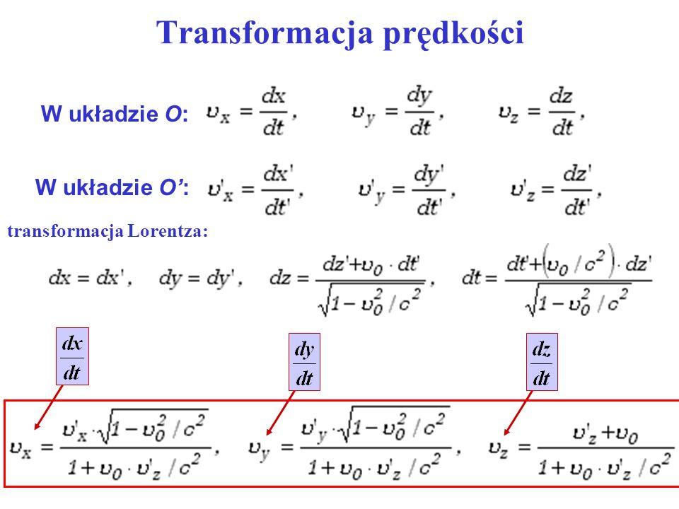 Transformacja prędkości W układzie O: transformacja Lorentza: