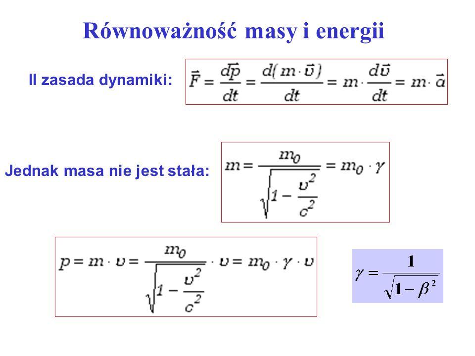 Równoważność masy i energii II zasada dynamiki: Jednak masa nie jest stała: