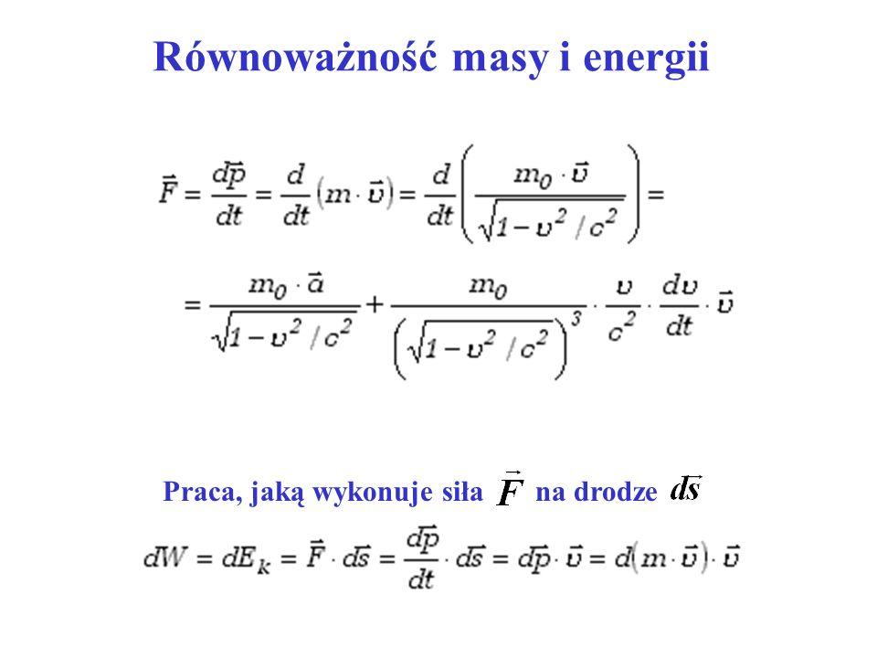 Równoważność masy i energii Praca, jaką wykonuje siła na drodze