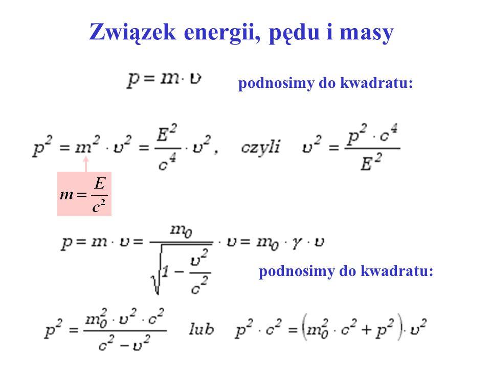 Związek energii, pędu i masy podnosimy do kwadratu: