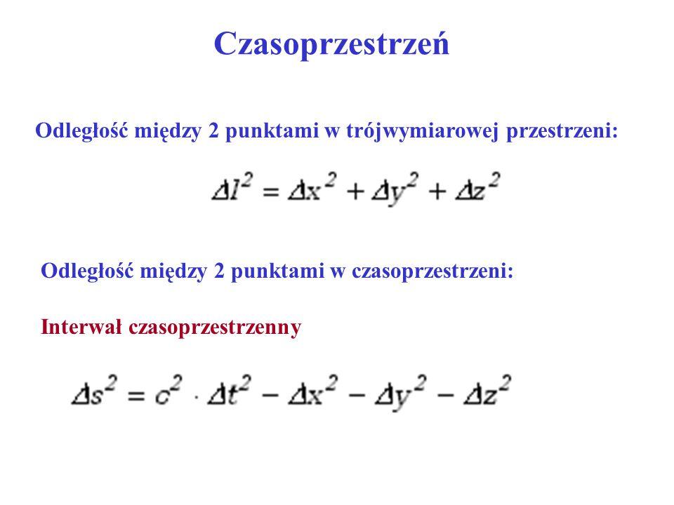 Czasoprzestrzeń Odległość między 2 punktami w trójwymiarowej przestrzeni: Odległość między 2 punktami w czasoprzestrzeni: Interwał czasoprzestrzenny