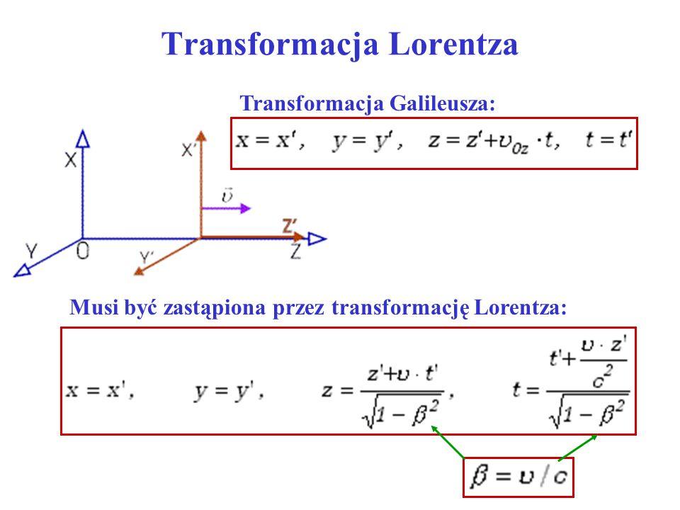 Transformacja Lorentza Musi być zastąpiona przez transformację Lorentza: Transformacja Galileusza: