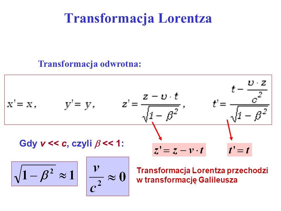 Skrócenie długości z x y z1z1 z2z2 O z x y O v W układzie, w którym pręt spoczywa: W układzie poruszającym się: skrócenie Lorentza