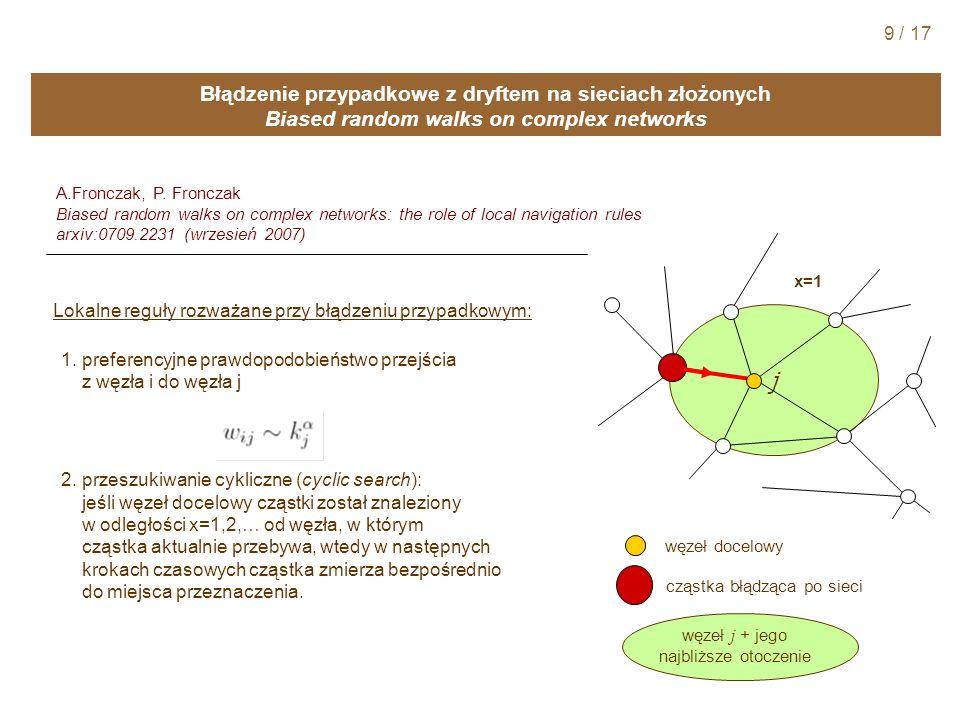 Błądzenie przypadkowe z dryftem na sieciach złożonych Biased random walks on complex networks A.Fronczak, P.