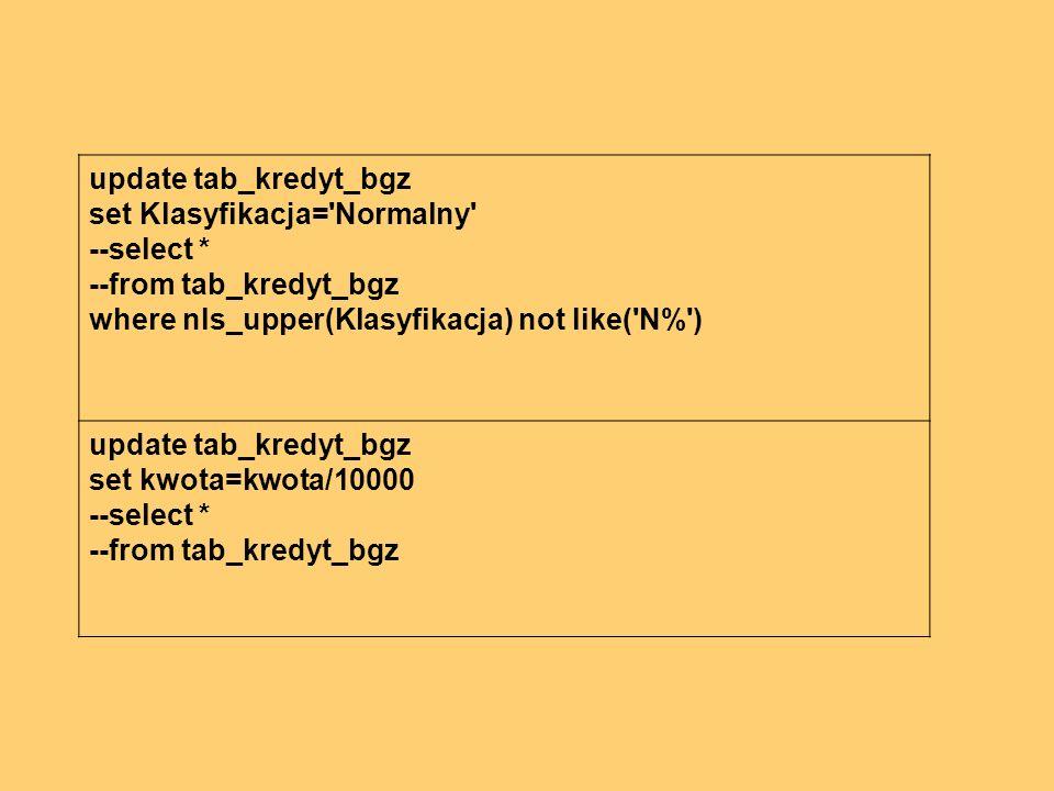 update tab_kredyt_bgz set Klasyfikacja= Normalny --select * --from tab_kredyt_bgz where nls_upper(Klasyfikacja) not like( N% ) update tab_kredyt_bgz set kwota=kwota/10000 --select * --from tab_kredyt_bgz