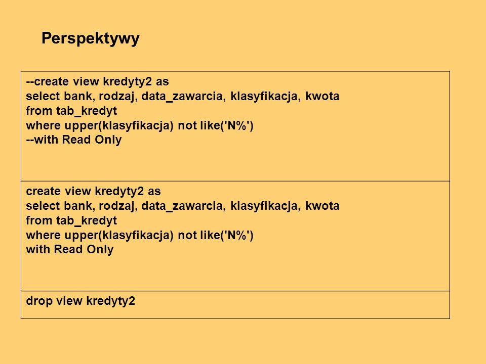 --create view kredyty2 as select bank, rodzaj, data_zawarcia, klasyfikacja, kwota from tab_kredyt where upper(klasyfikacja) not like( N% ) --with Read Only create view kredyty2 as select bank, rodzaj, data_zawarcia, klasyfikacja, kwota from tab_kredyt where upper(klasyfikacja) not like( N% ) with Read Only drop view kredyty2 Perspektywy