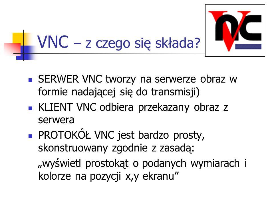 VNC – z czego się składa? SERWER VNC tworzy na serwerze obraz w formie nadającej się do transmisji) KLIENT VNC odbiera przekazany obraz z serwera PROT