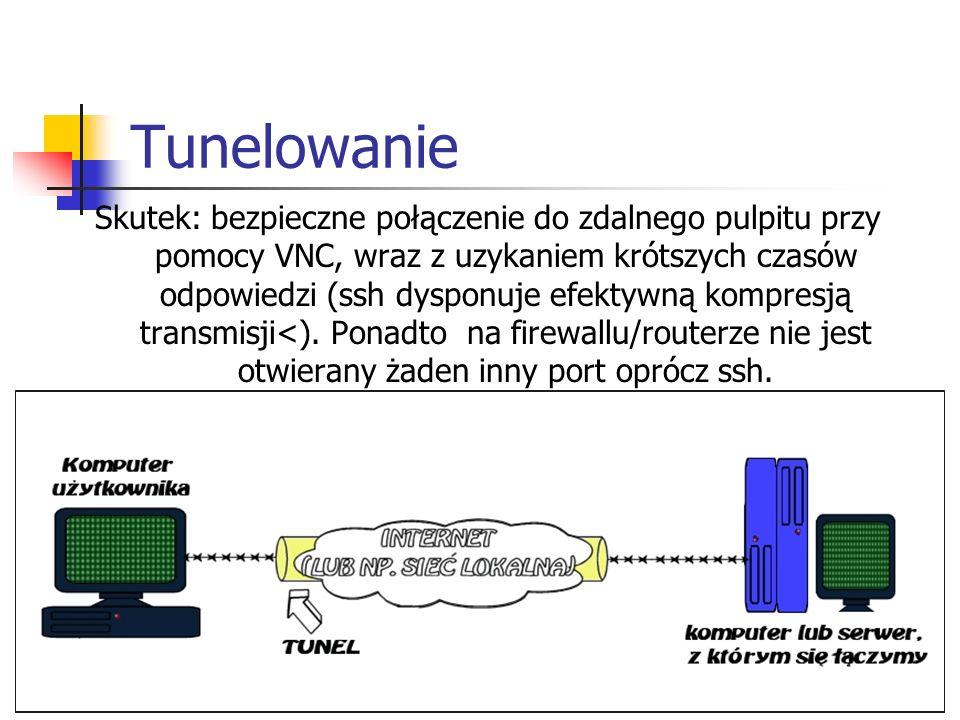 Skutek: bezpieczne połączenie do zdalnego pulpitu przy pomocy VNC, wraz z uzykaniem krótszych czasów odpowiedzi (ssh dysponuje efektywną kompresją tra