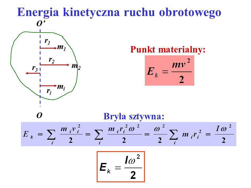 Energia kinetyczna ruchu obrotowego r1r1 O O r2r2 r3r3 riri m1m1 mimi m2m2 Punkt materialny: Bryła sztywna: