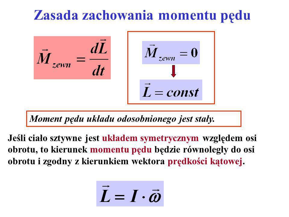 Zasada zachowania momentu pędu Moment pędu układu odosobnionego jest stały. Jeśli ciało sztywne jest układem symetrycznym względem osi obrotu, to kier