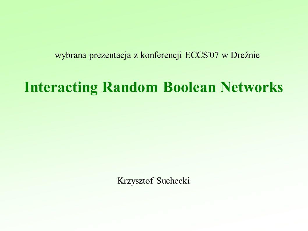 Krzysztof Suchecki wybrana prezentacja z konferencji ECCS 07 w Dreźnie Interacting Random Boolean Networks