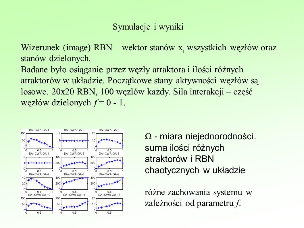 Symulacje i wyniki Wizerunek (image) RBN – wektor stanów x i wszystkich węzłów oraz stanów dzielonych.