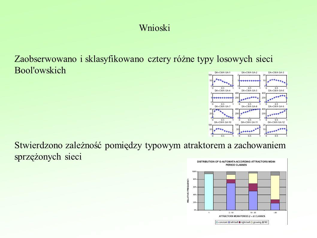 Wnioski Zaobserwowano i sklasyfikowano cztery różne typy losowych sieci Bool owskich Stwierdzono zależność pomiędzy typowym atraktorem a zachowaniem sprzężonych sieci