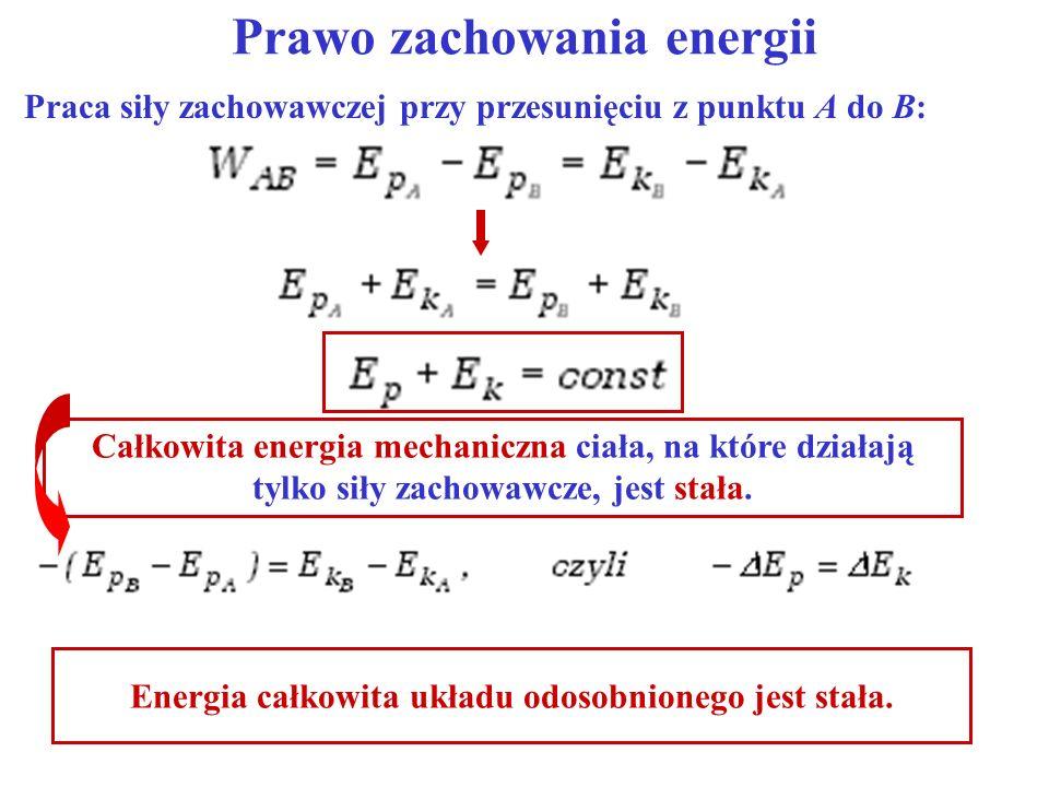 Prawo zachowania energii Całkowita energia mechaniczna ciała, na które działają tylko siły zachowawcze, jest stała. Energia całkowita układu odosobnio
