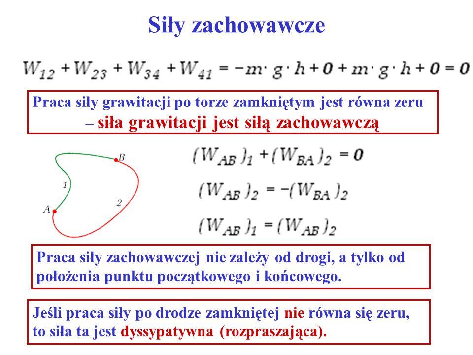 Siły zachowawcze Praca siły grawitacji po torze zamkniętym jest równa zeru – siła grawitacji jest siłą zachowawczą Jeśli praca siły po drodze zamknięt