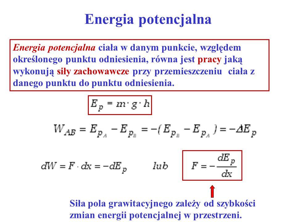 Energia potencjalna Energia potencjalna ciała w danym punkcie, względem określonego punktu odniesienia, równa jest pracy jaką wykonują siły zachowawcz