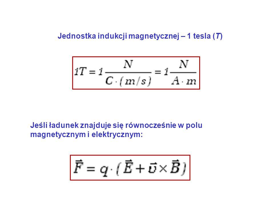 Jednostka indukcji magnetycznej – 1 tesla (T) Jeśli ładunek znajduje się równocześnie w polu magnetycznym i elektrycznym: