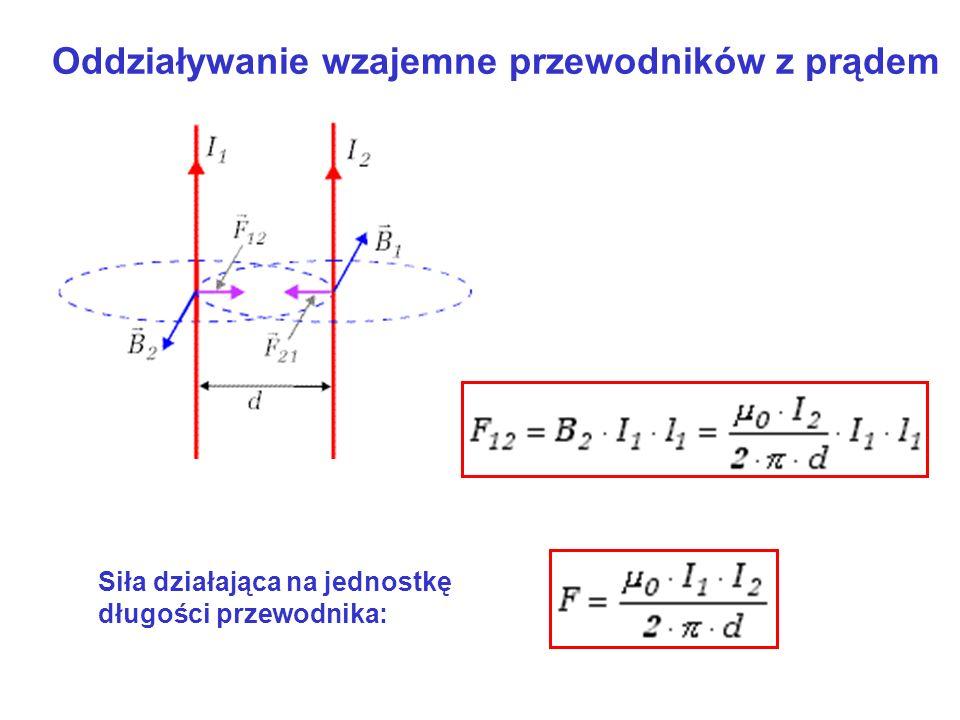 Oddziaływanie wzajemne przewodników z prądem Siła działająca na jednostkę długości przewodnika: