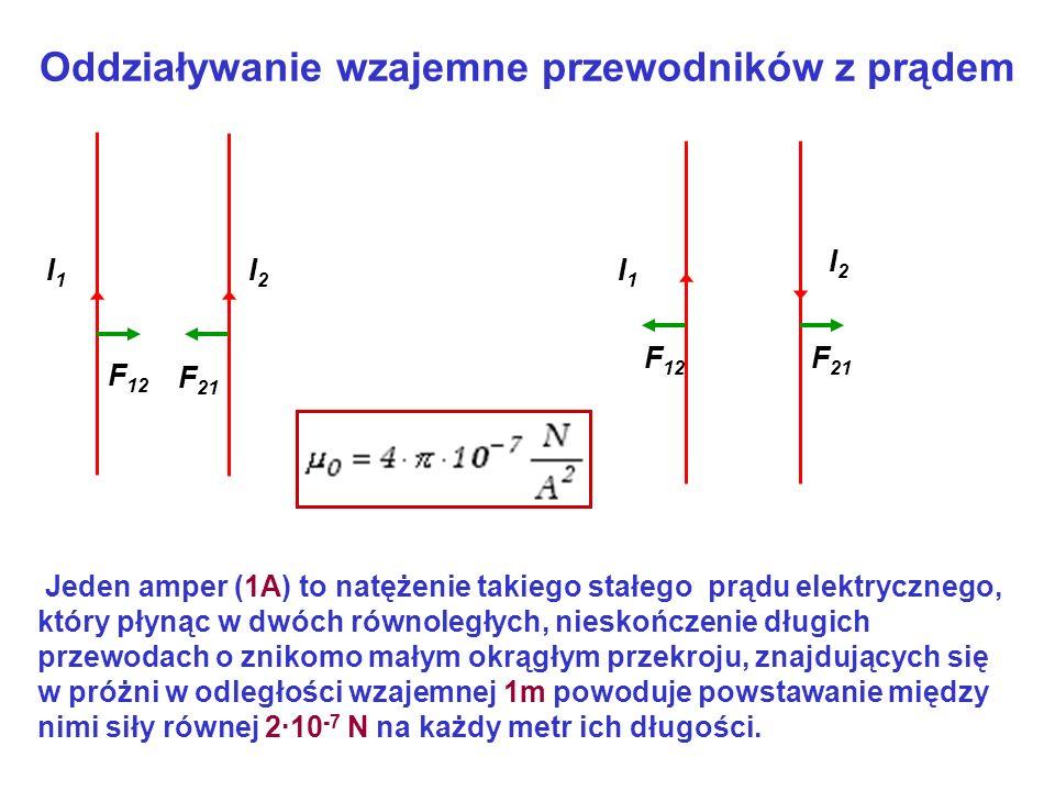 Oddziaływanie wzajemne przewodników z prądem I2I2 I1I1 I1I1 I2I2 F 12 F 21 Jeden amper (1A) to natężenie takiego stałego prądu elektrycznego, który pł