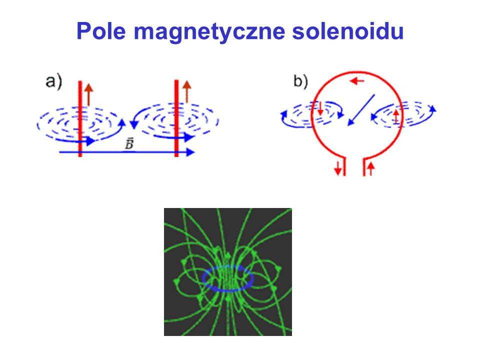 Oddziaływanie wzajemne przewodników z prądem I2I2 I1I1 I1I1 I2I2 F 12 F 21 Jeden amper (1A) to natężenie takiego stałego prądu elektrycznego, który płynąc w dwóch równoległych, nieskończenie długich przewodach o znikomo małym okrągłym przekroju, znajdujących się w próżni w odległości wzajemnej 1m powoduje powstawanie między nimi siły równej 2·10 -7 N na każdy metr ich długości.