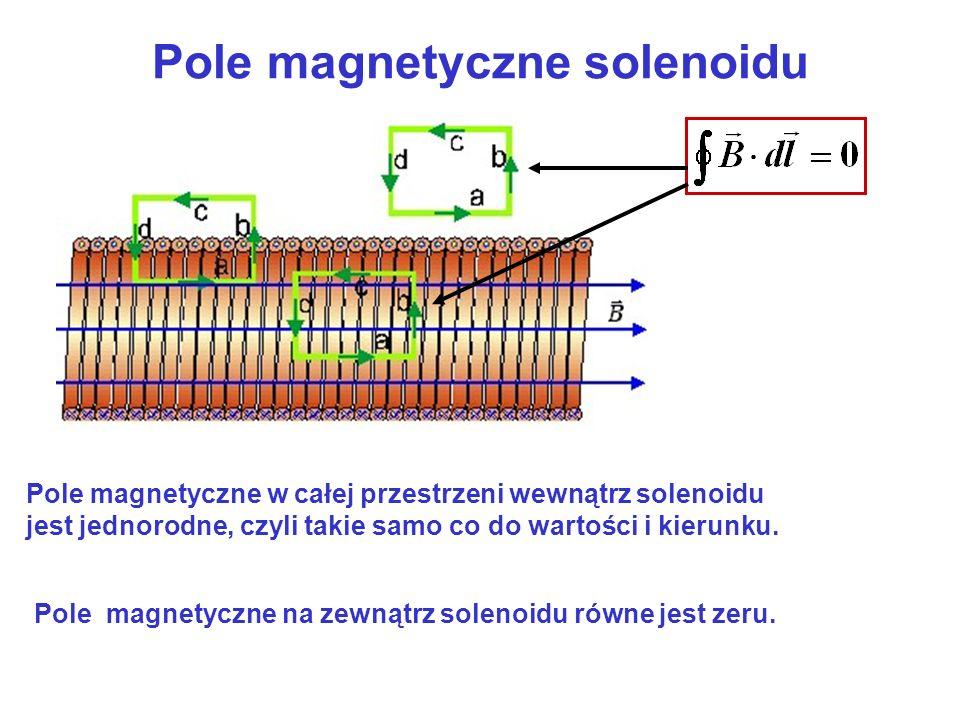 Pole magnetyczne w całej przestrzeni wewnątrz solenoidu jest jednorodne, czyli takie samo co do wartości i kierunku. Pole magnetyczne na zewnątrz sole