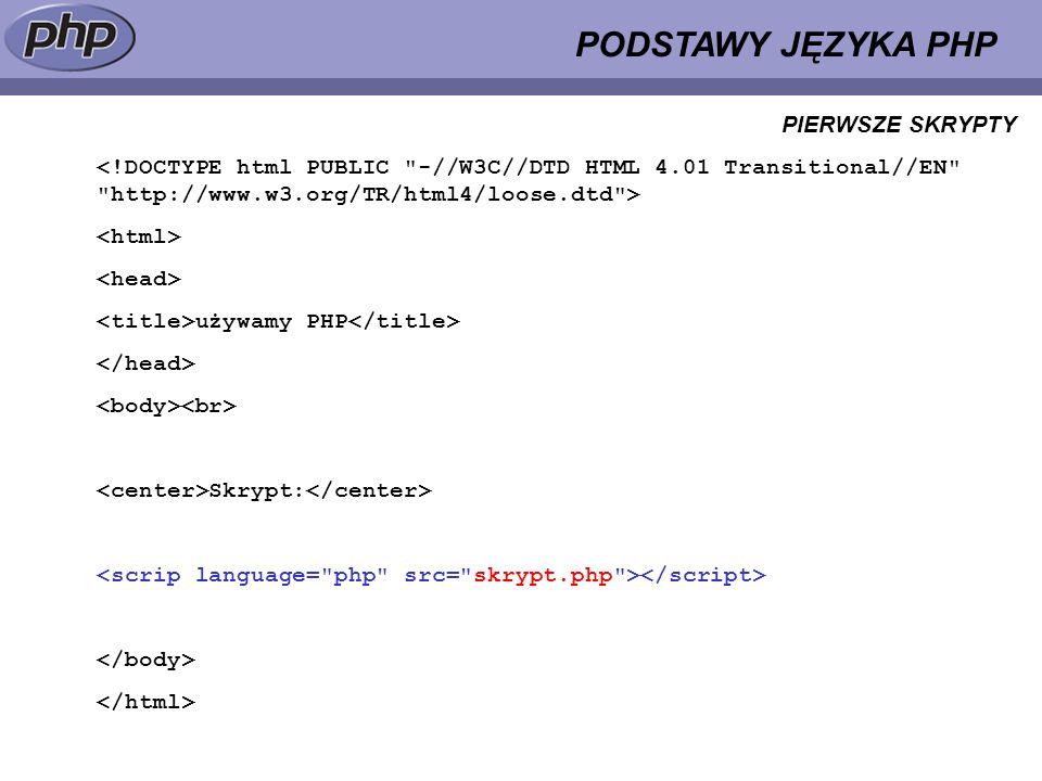 PODSTAWY JĘZYKA PHP używamy PHP Skrypt: PIERWSZE SKRYPTY