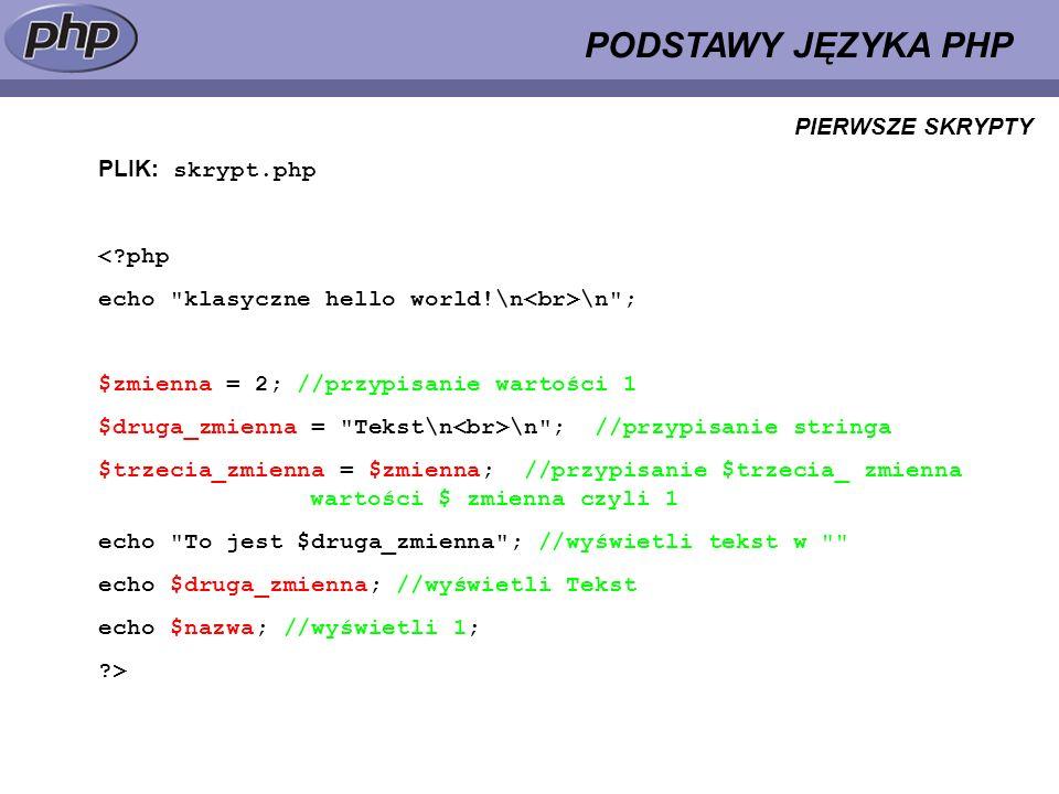 PODSTAWY JĘZYKA PHP PLIK: skrypt.php <?php echo