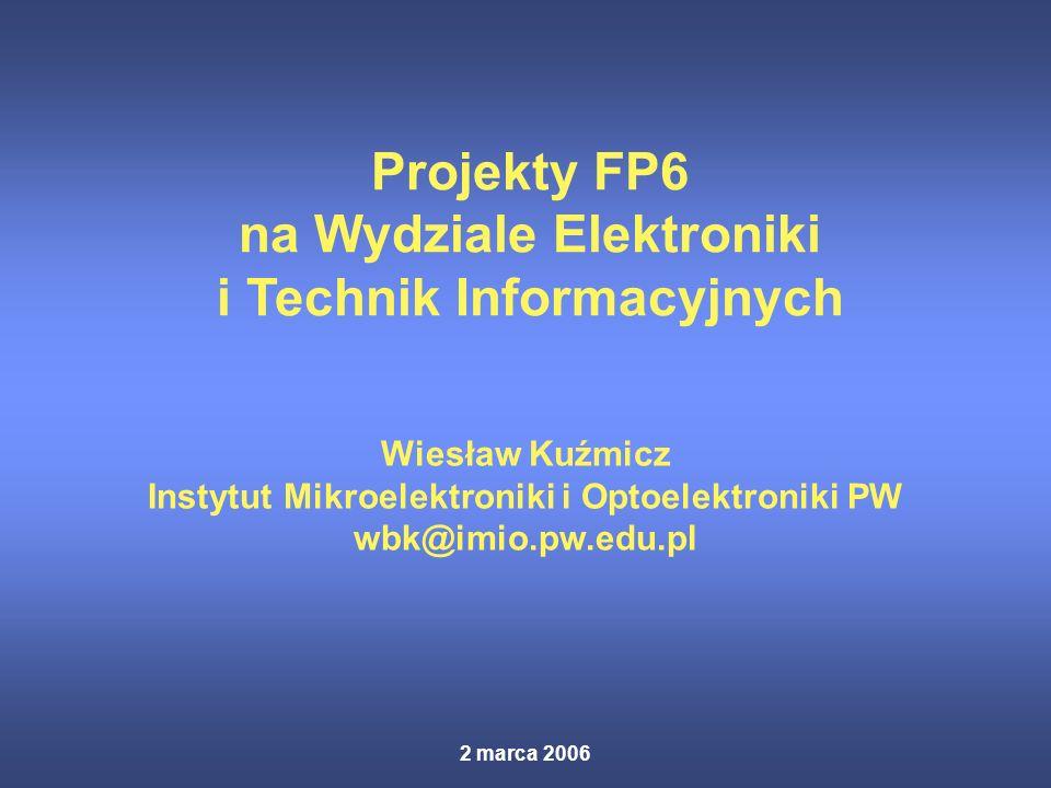 2 marca 2006 Projekty FP6 na Wydziale Elektroniki i Technik Informacyjnych Wiesław Kuźmicz Instytut Mikroelektroniki i Optoelektroniki PW wbk@imio.pw.edu.pl