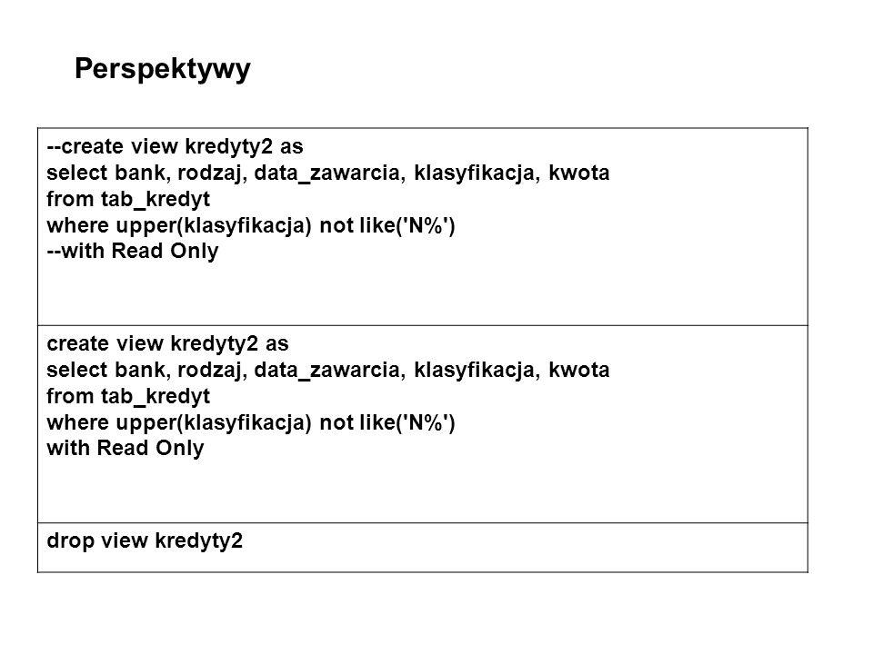 create view kredyty2a as select bank,rodzaj,data_zawarcia,klasyfikacja,kwota, to_number(to_char(data_zawarcia, YYYY ))Rok, to_number(to_char(data_zawarcia, Q ))Kwartał from tab_kredyt where upper(bank)like( BG% ) with read only select rok, sum(decode(kwartał, 1 ,kwota,0))Kwartał1, sum(decode(kwartał, 2 ,kwota,0))Kwartał2, sum(decode(kwartał, 3 ,kwota,0))Kwartał3, sum(decode(kwartał, 4 ,kwota,0))Kwartał4, count(kwota)Razem from kredyty2a where Rok in (1994,1996) group by rok